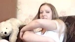 Irina playing with fur flan