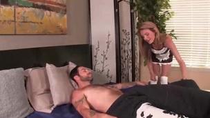 Slutty maid jacks off her king