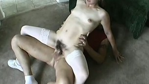 Alexia lies on her back to have the evil stud pounding her hairy peach unfathomable and coarse