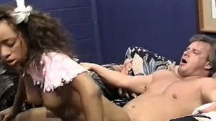 Fresh ebony babe Solveig gets her pleasing juvenile slit broken in