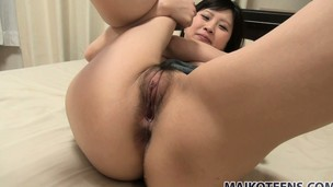 He slams his stick into Ria's tight Asian hole and leaves her with a creampie