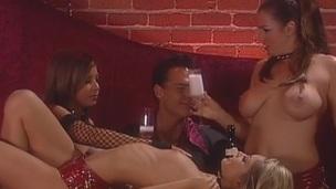 Breasty porn honeys Devinn Lane and Gia Jordan treats cock a hot and nasty blowjob