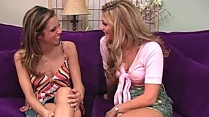 Giddy amateur lesbian babe moans while getting her pussy licked then drilled with a dildo