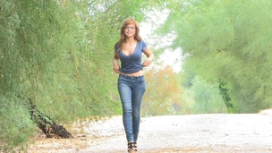 Redhead chick in glasses and jeans love to flaunt her nice ass and natural tits in public