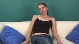 Skinny honey going her fingers in and out of her cunny
