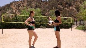 Girls enjoy lesbian love after doing sports outdoors