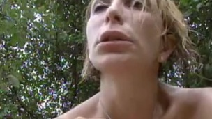 Tattooed golden-haired with large meatballs gets smashed hardcore in an outdoors scene