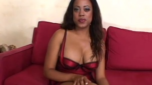 Ebony babe acquires a taste of white cock in interracial fucking