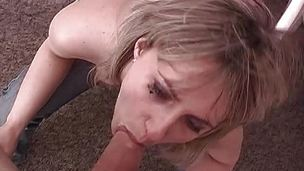 Amateur babe gags on this stiff barring