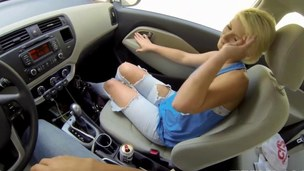 Bimbo blonde eating weasel words in POV and boning in public