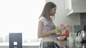 Skinny teen makes tea and sucks her steady old-fashioned off