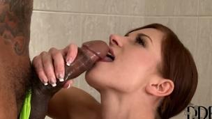 Young and skinny Jessica Rox enjoys massive black cock in hardcore scene