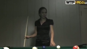 Natasha is young outstanding student! She is modest and looks like she is innocent, bank she always dreams prevalent hardcore fucking! This guy feels this and called her for a billiard challenge.
