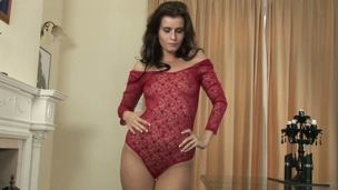 Sure as hell, gorgeous leggy dark brown Megan looks mouthwatering in her see-through lacy red outfit but Shes on a sizzling hawt mission to get even less dressed tonight!