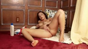 Lola Foxx lotions up her fingertips and fingers her sweet snatch in this awesome masturbation clip. That horny floozy takes her fingers all in her pretty young tight pussy!