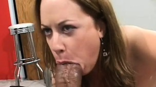 Alluring brunette has two massive darksome cocks stretching her peach