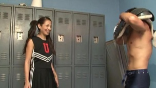 Coco Velvett sucks and bites a dude's weiner in the locker neighbourhood