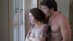 Kayden Kross gets orally gangbanged by a organize for hung studs