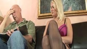 Curvy blonde slut getting cum-hole licked and fucked hard