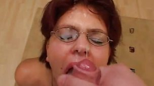 Nasty dilettante showered with thick cum