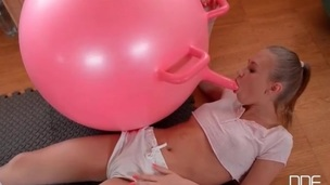 Flawless shaved legal age teenager cunt sits on a pink sextoy