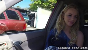 Sexy golden-haired legal age teenager hitchhiker sucks jock