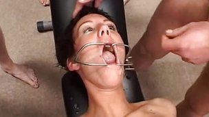 Deviating bukkake anal orgy