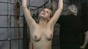 Sexy, submissive gold gets her teats tortured, then drilled by her dom