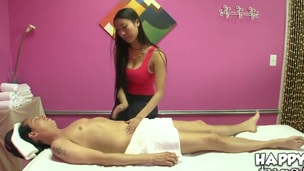 Sexy Asian masseur Sharon Lee gives a nice massage to hot Scott behind transmitted to closed door!