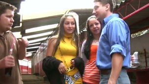Sexy legal age teenager hawt hotties Alexandra together with Lorena meet two hot guys in the street together with succeed in a spicy suggest of group morose fun! The strumpets tolerate the defiance together with exhaust the bastard with their mouths together with pussies!