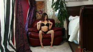 Cassie Laine is an ATK favorite. That babe loves showing off the brush miniature body, creamy skin, and perky tits. In this clip this babe lays in a overheated leather presiding officer and works the brush pussy fine involving a black buzz toy.