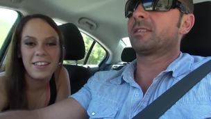 Skinny college honey Haley Pleasing gives a blowjob right in the car. When lose concentration babe gets his home honey starts to take off her garments and shows her pleasant body.