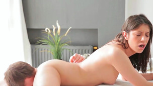 Olga getting brutally banged and receiving sperm on her snatch