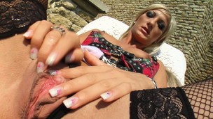 Hot blonde Sabina has will not hear of slutty schoolgirl gear on doused and masturbates