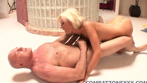 Curvaceous and vicious golden-haired Kaylee sucks huge bone and gets battered from behind
