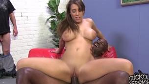 Cuckold licks dark guy's jizz off his wife's feet