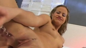 Blonde loveliness Luigiana has a soaked vagina longing for intense joy