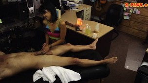 Tight asian unsubtle pawns the brush massage table and rammed
