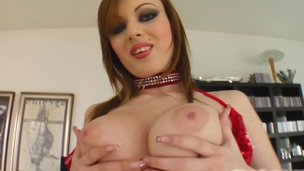 Mya shows her beautiful tits and drills her smooth pussy apropos a dildo