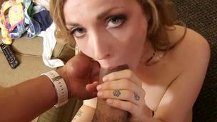 Sweetheart is jerking off and sucking guys hard boner