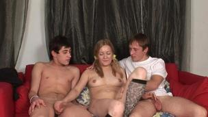 Cutie is having a threesome interracial sex