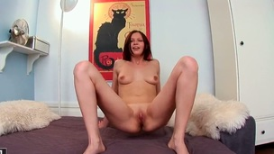 Gentle bitch Valery Von spreads her sexy legs added to plays with her soaking vagina