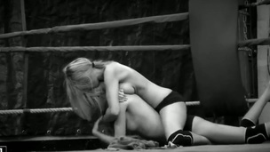 Darksome white backstage movie down two wild girls Antonya plus Blanche fighting at the ring