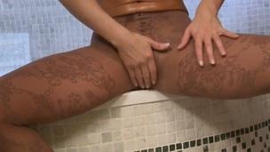 Silvia Saint gives a closeup view of her messy aperture as A she masturbates