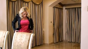 Blonde Sarah Simon with wet jugs gives pleasure to herself with the in a holding pattern of toy