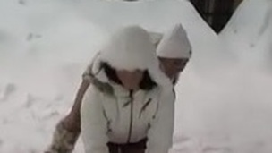 lesbians playing in the snow