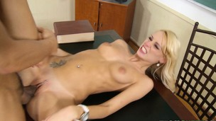 Gracious slender golden-haired with a hot ass has a big cock deeply pounding her pussy