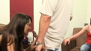 Slutty bored pair finds a hot coed to seduce and has some joy