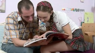 Fascinating schoolgirl with pigtails welcomes a huge cock deep beside the brush tight anal hole