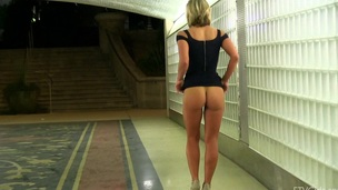 Extra hot amateur blonde in a sexy black dress teases in public